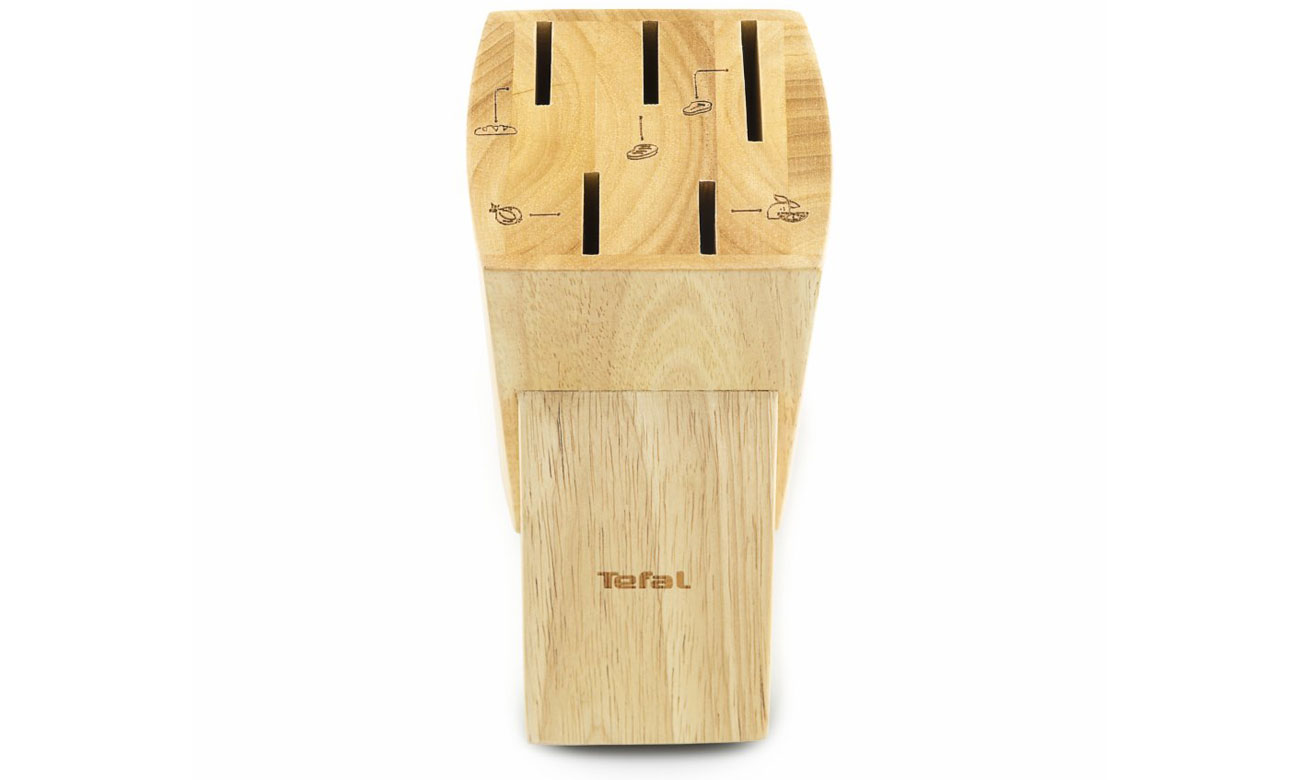 noże i drewniany blok Tefal