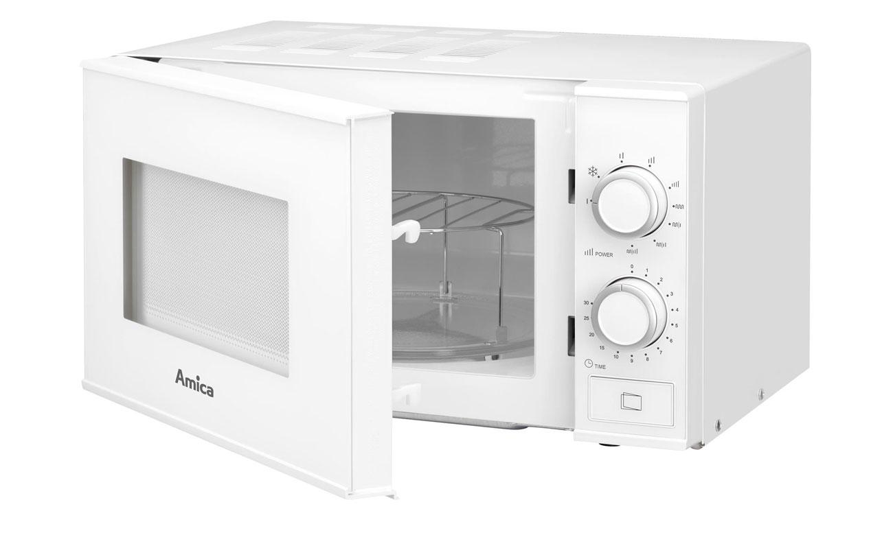 Obrotowy talerz w kuchence mikrofalowej Amica AMGF17M1GW