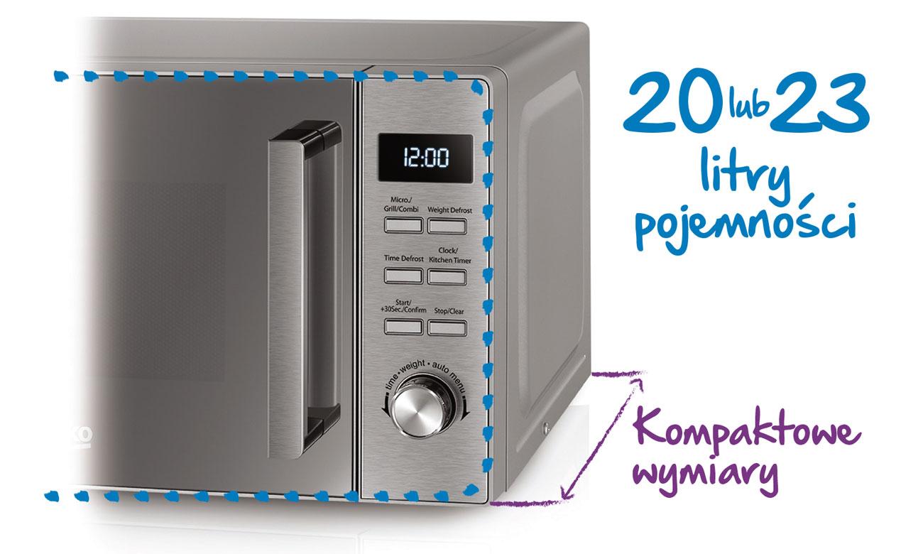 Kompaktowe wymiary kuchenki mikrofalowej Beko MOC20100B