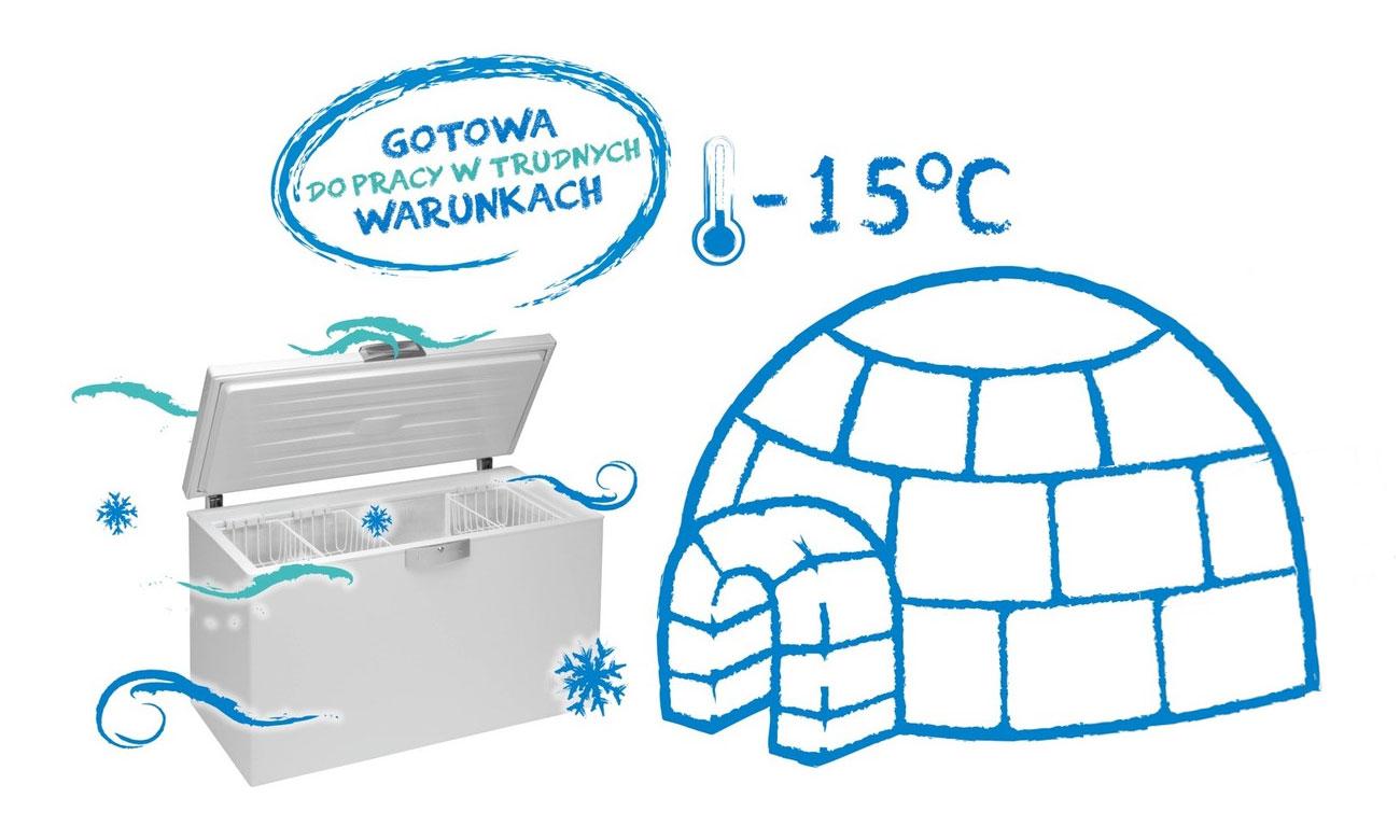 Gwarancja działania przy niskich temperaturach zamrażarki Beko RFNE270E23W