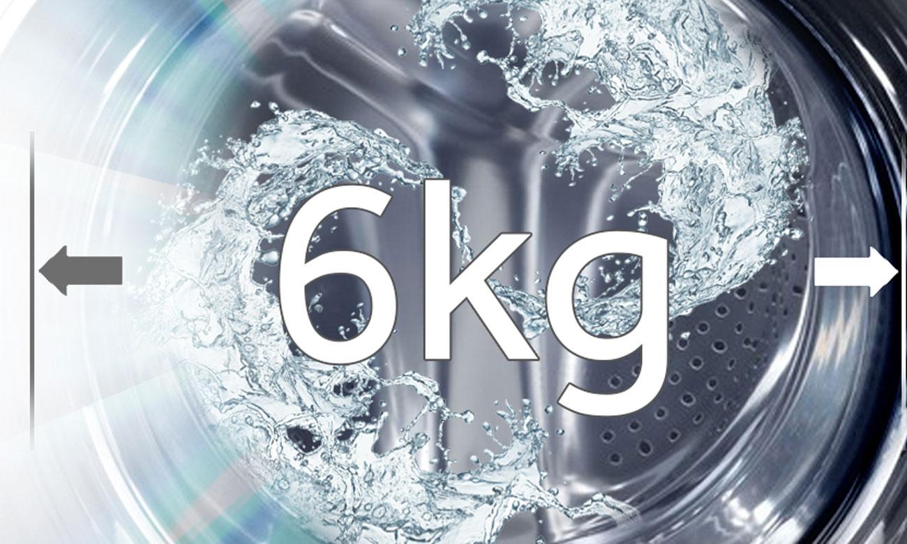 Duża pojemność pralki, dzięki 6kg bębnowi w pralce Haier HW60-1211N