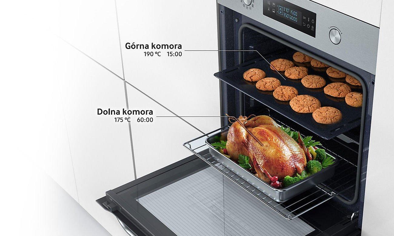 Możliwość podzielenia piekarnika, dzięki technologii Dual Cook w piekarniku Samsung NV66M3531BS