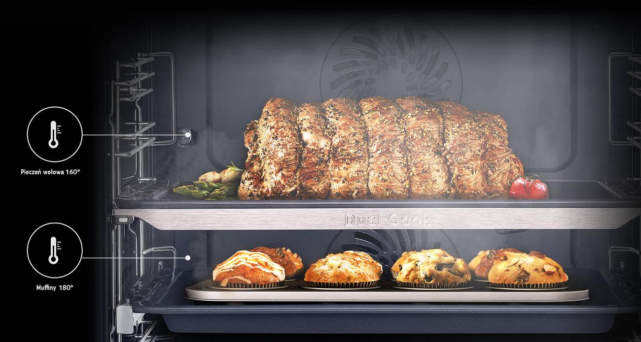 Samsung NV75J7570RS posiada system Dual Cook+