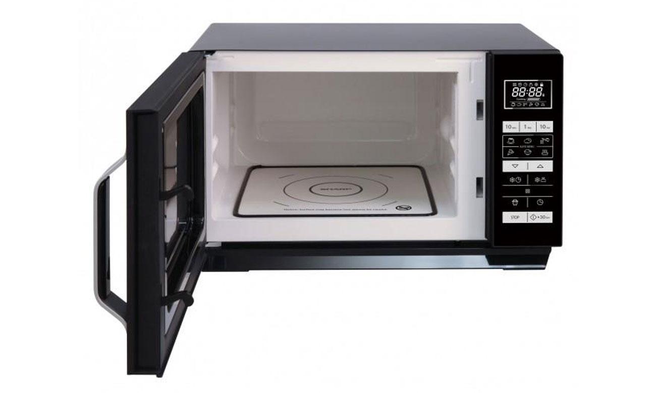 Równomierne podgrzewanie potraw, dzięki rozwiązaniu bez talerza obrotowego w kuchence mikrofalowej Sharp R360BK