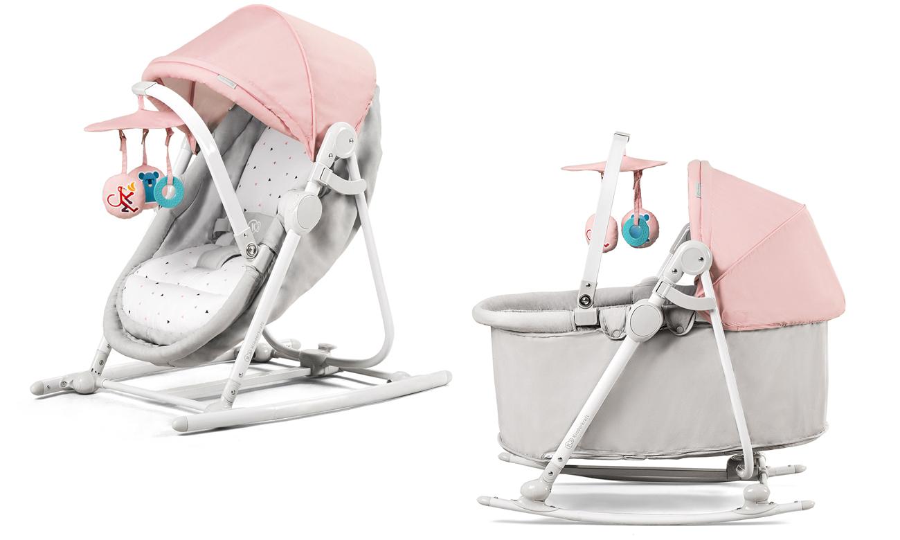 Leżaczek bujaczek kołyska 5w1 UNIMO Kinderkraft pink