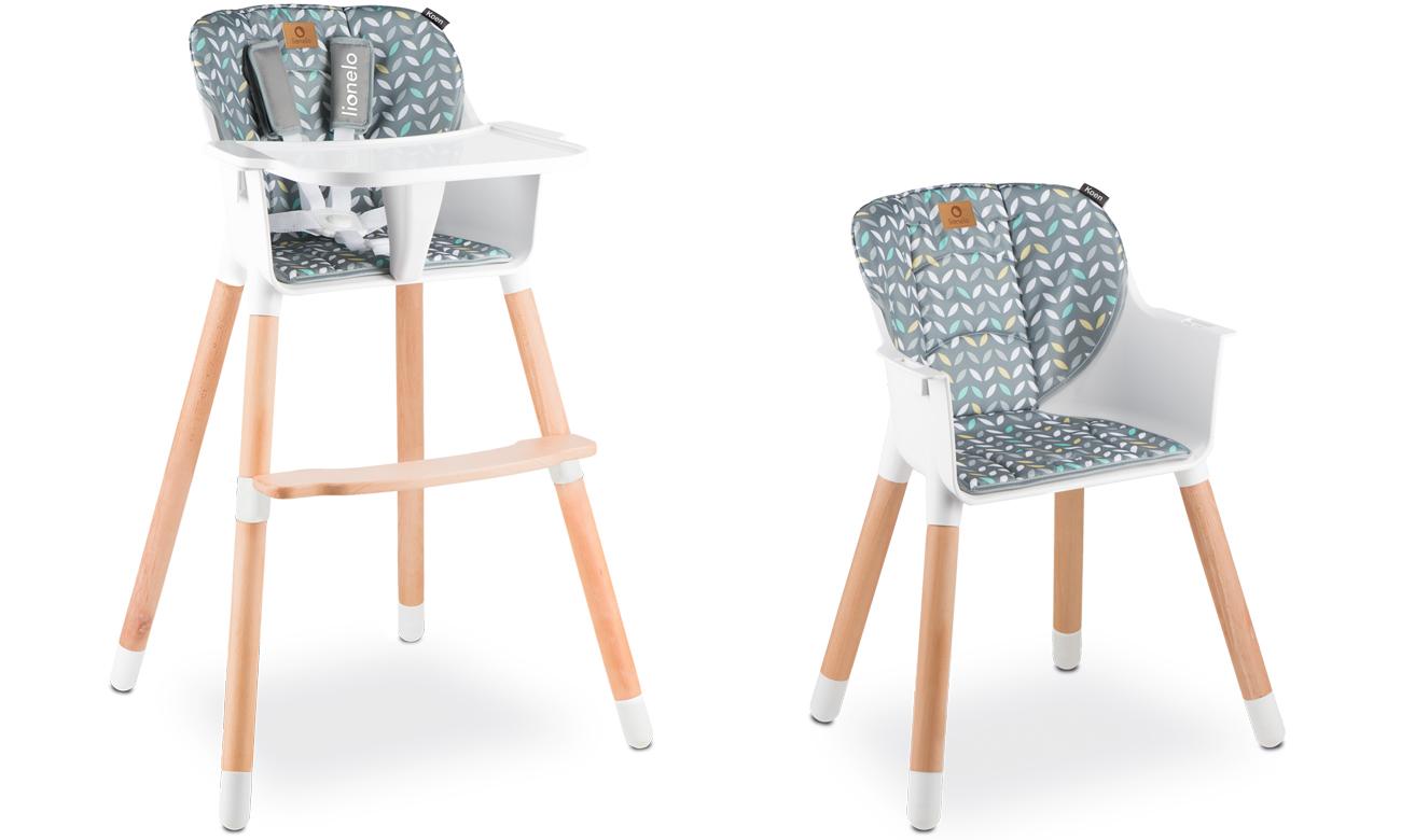 Krzesełko do karmienia Lionelo Koen 2w1 drewniane