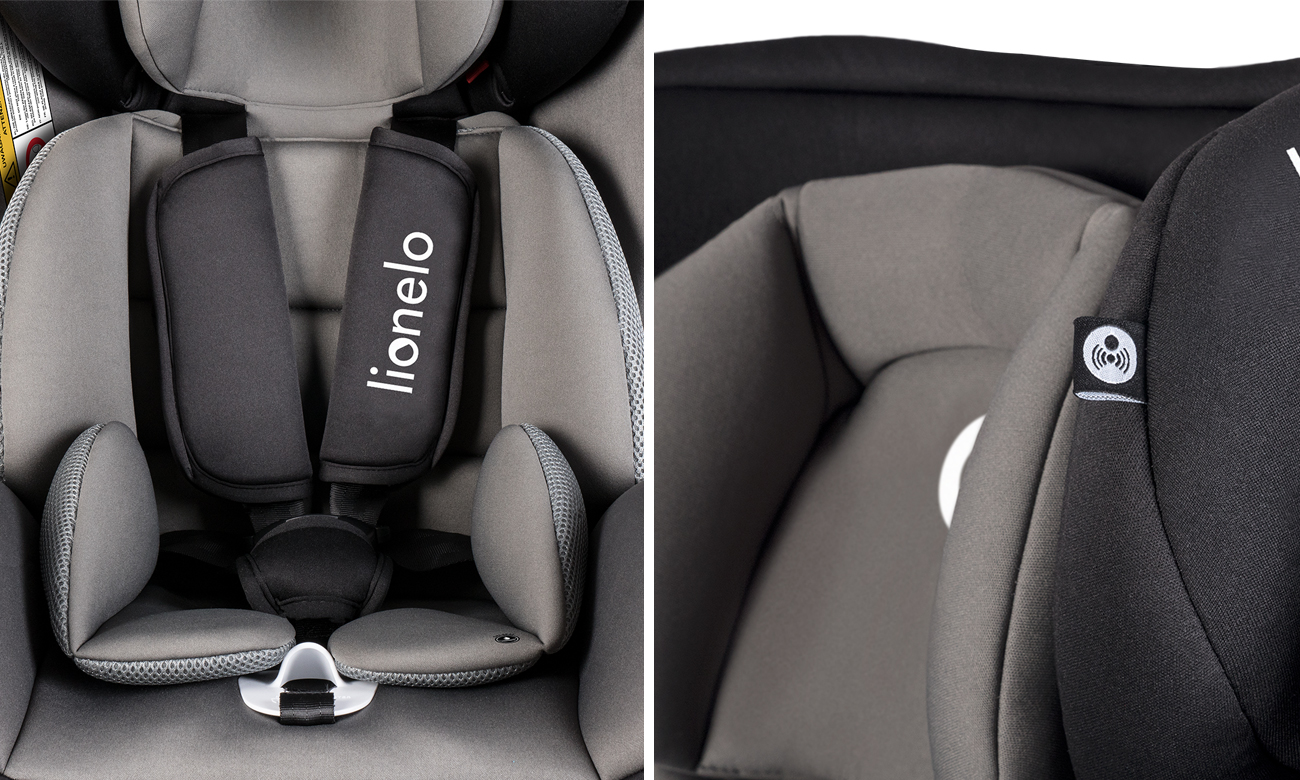 Bezpieczny Fotelik samochodowy Lionelo Bastiaan Grey