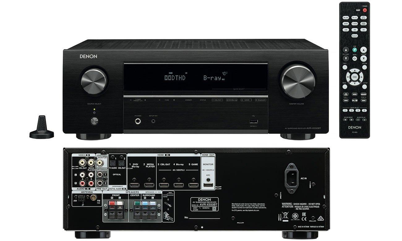 Obsługa jakości 4K UHD z Denon AVR-X550BT
