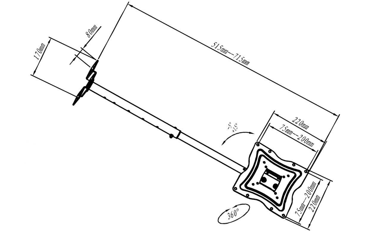 Uchwyt RTV mocowany do suftów ART AR-21XP