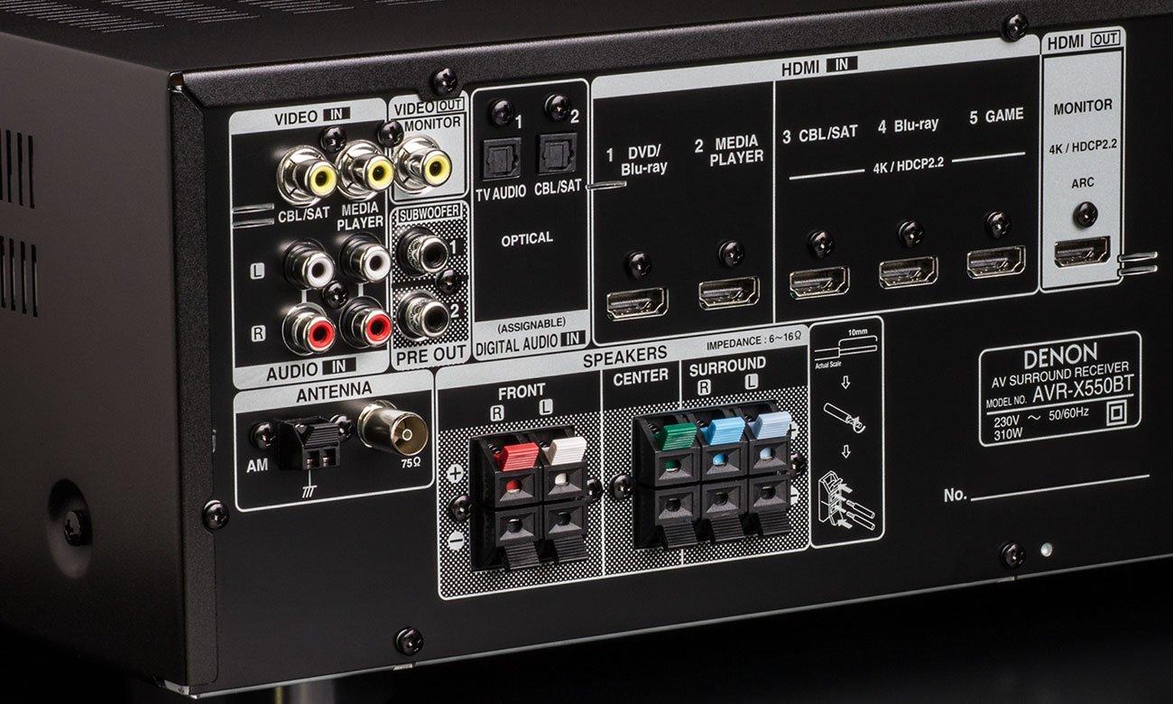 Łatwy w użytkowaniu amplituner do kina domowego Denon AVR-X550BT