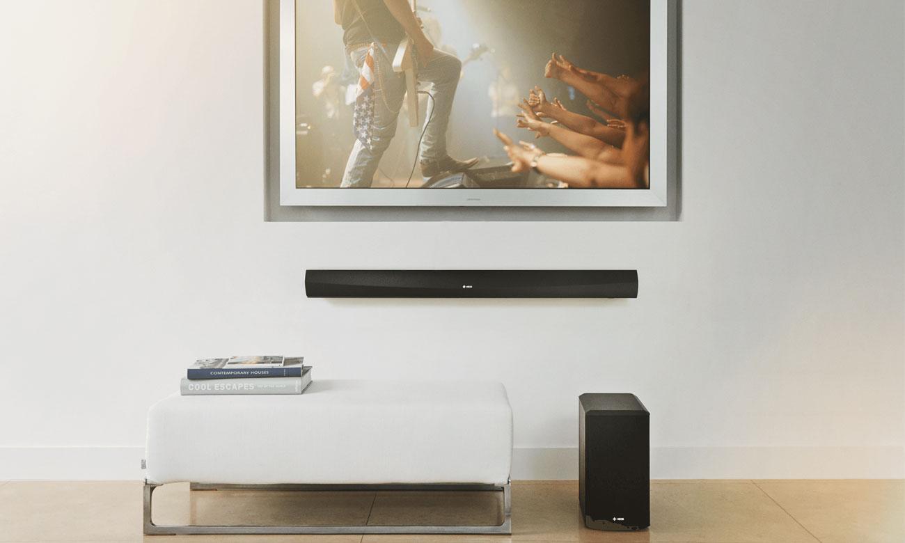 Wysoka jakość dźwięku przestrzennego w soundbarze Denon Heos Home Cinema HEOSHCBKE2