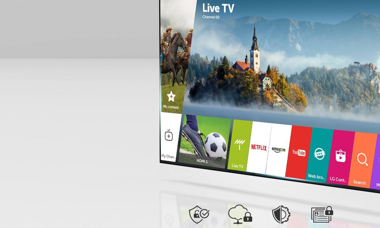 Bezpieczny i funkcjonalny system Smart webOS 3.5 w tv LG 49UK6400
