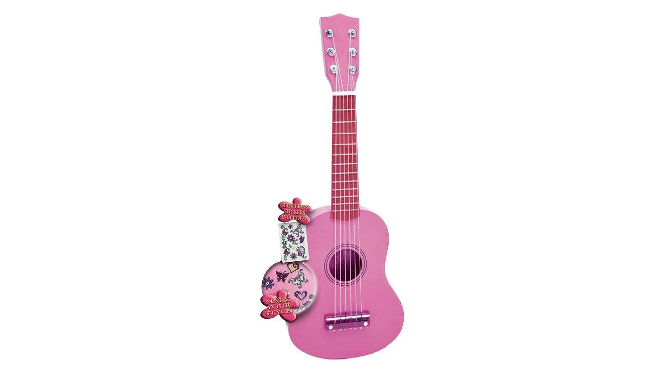 Bontempi PLAY - Gitara drewniana 55 CM różowa z naklejkami