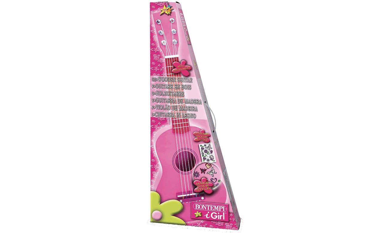 Zabawka muzyczna Bontempi PLAY - Gitara drewniana 55 CM różowa z naklejkami 22 5571