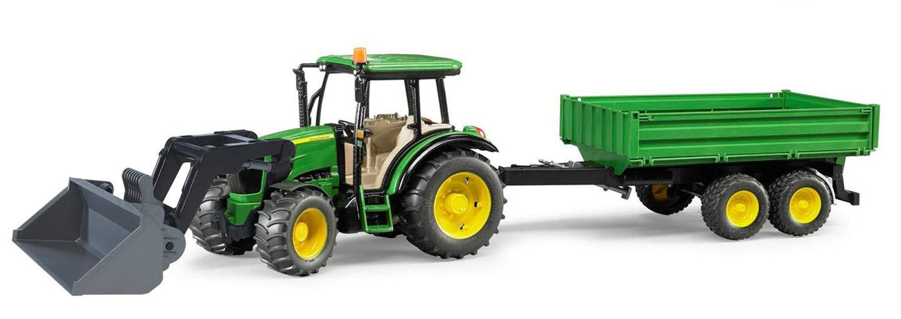 BRUDER Traktor John Deere 5115M z ładowaczem i przyczepą