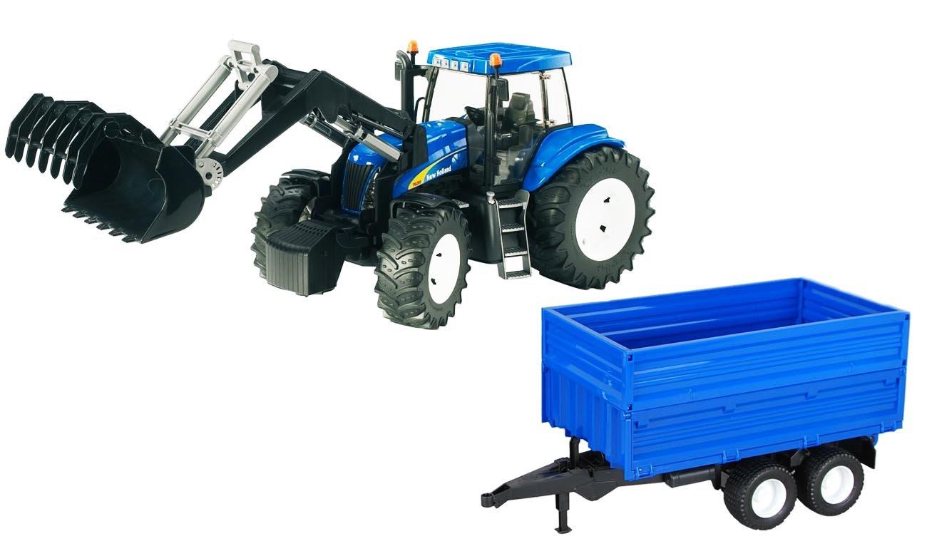 BRUDER Traktor New Holland TG 285 z ładowaczem i przyczepą