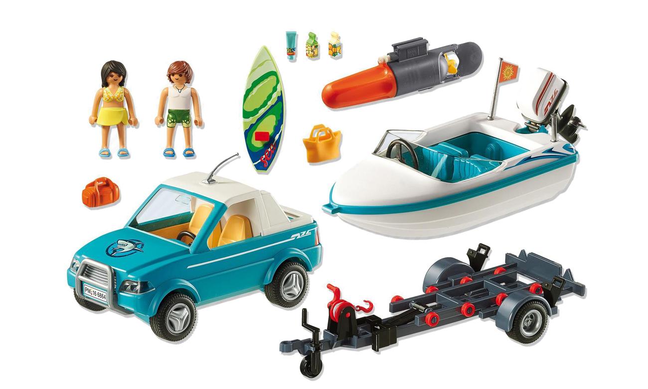 Skład zestawu PLAYMOBIL - Surfer-Pickup z motorówką 6864