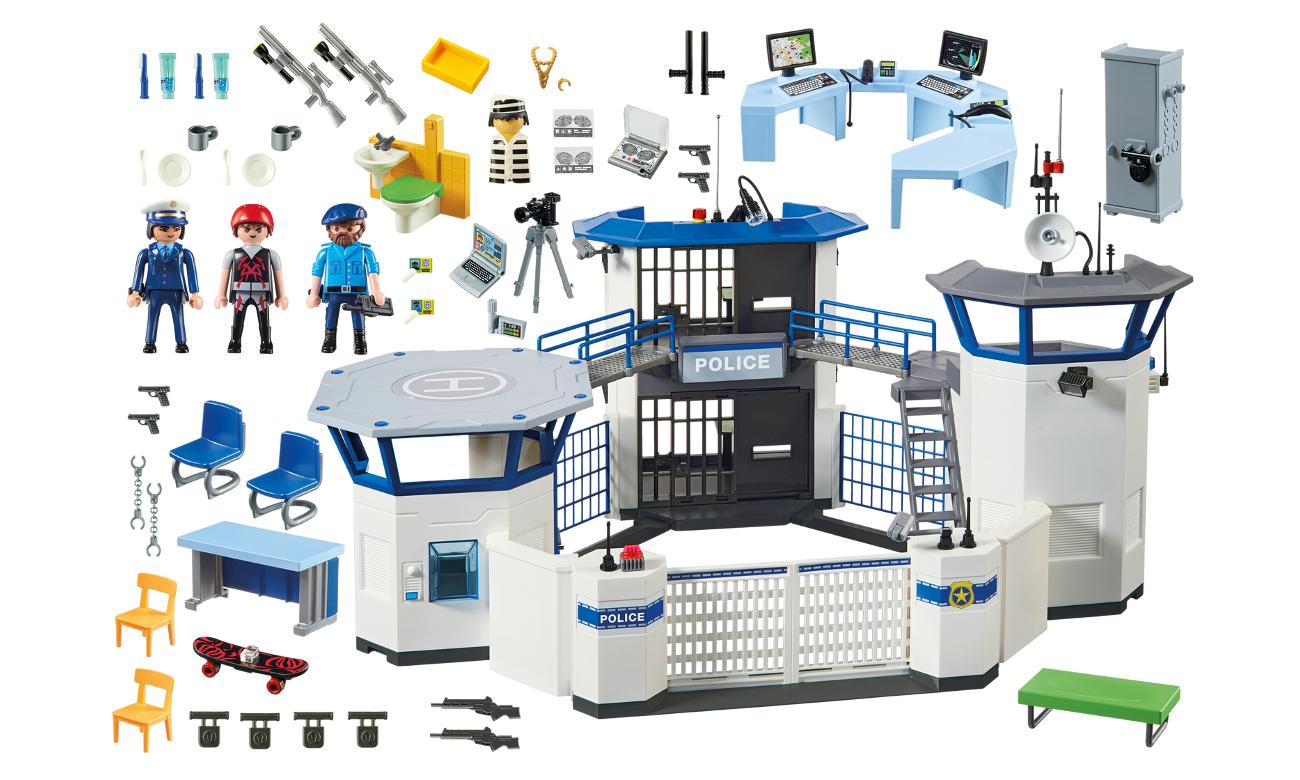 zawratość zestawu playmobil komisariat posterunek policji