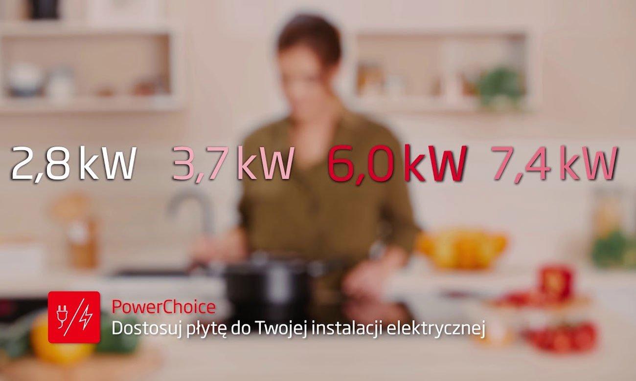 Dostosowanie mocy urządzenia, dzięki funkcji PowerChoice w płycie indukcyjnej Amica PI6540PTU