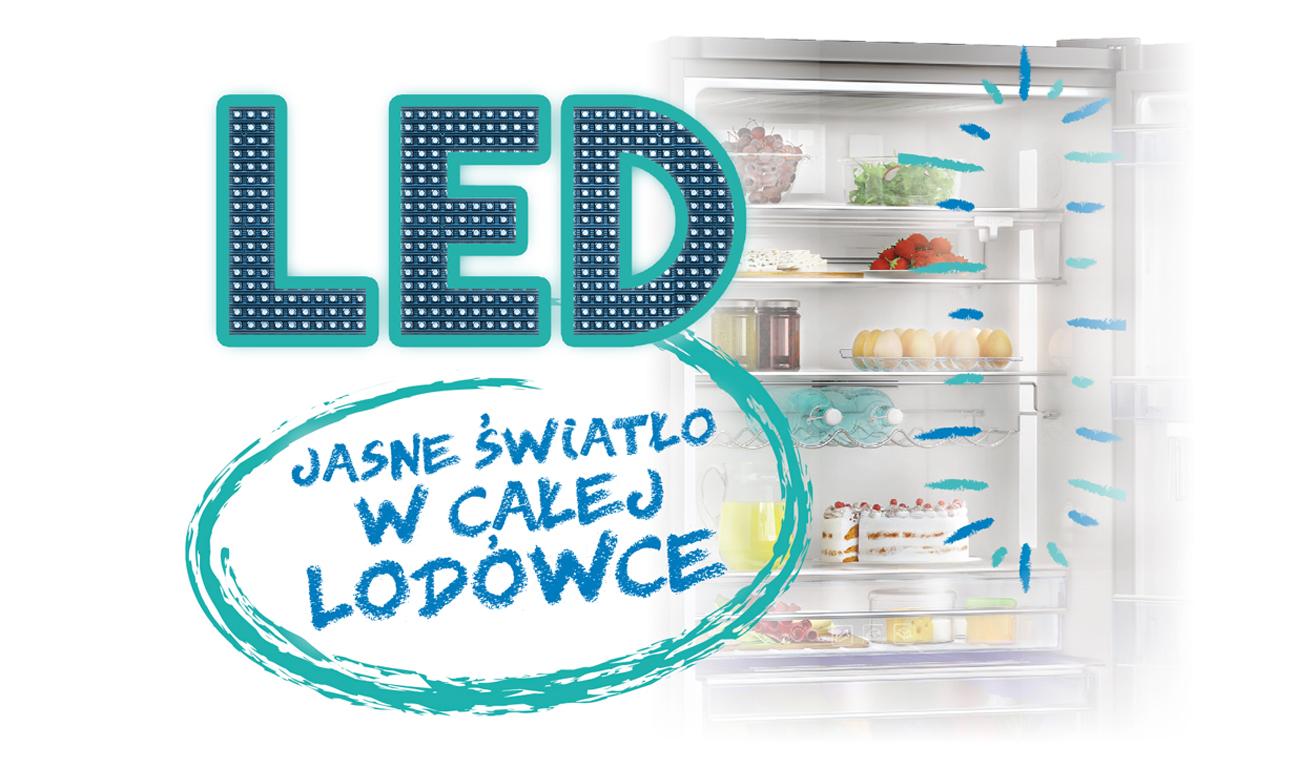 Oświetlenioe LED w lodówce Beko CNE520EE0ZGB