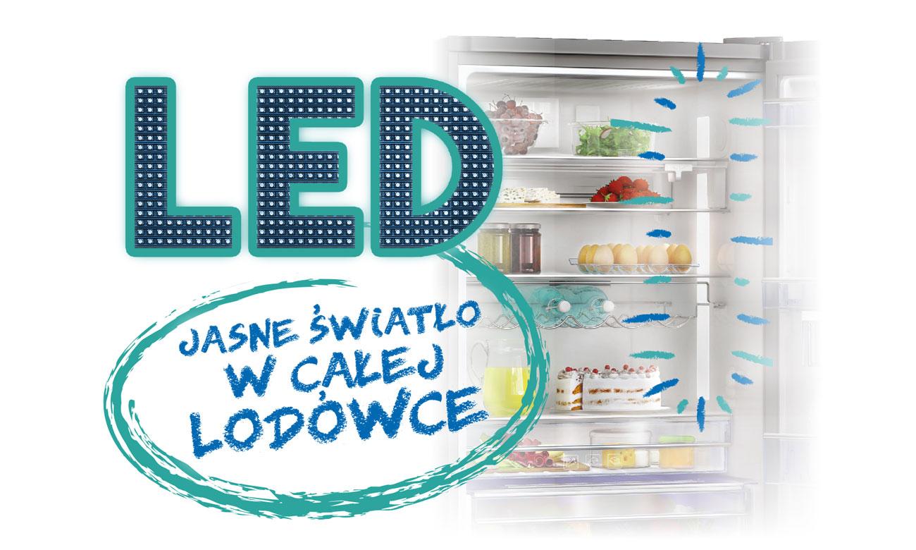 Oświetlenie LED w lodówce Beko GNE134621X