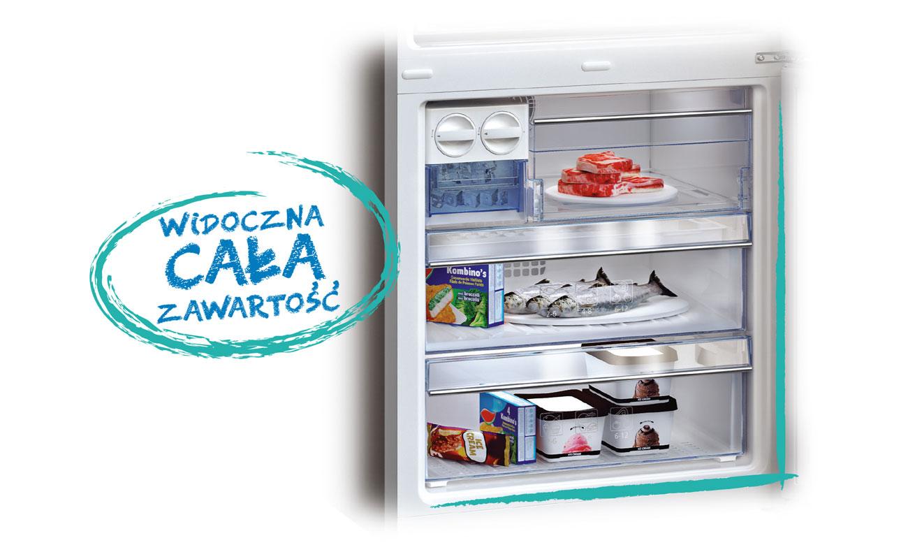 Przezroczyste szuflady zamrażalnika w lodówce Beko RCSA225K21W