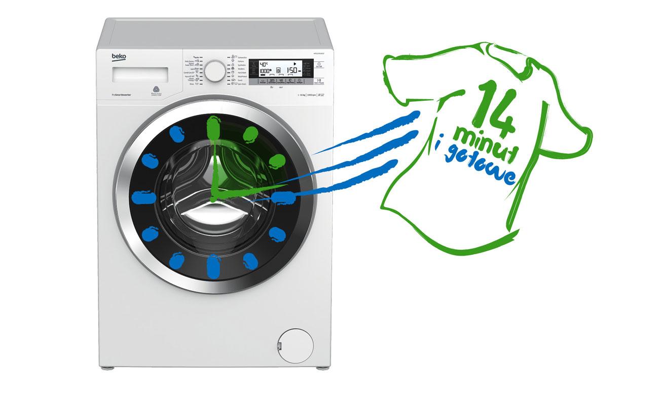 Szybkie pranie z programem Xpress Super Short w pralce Beko SWRE7512XWW2