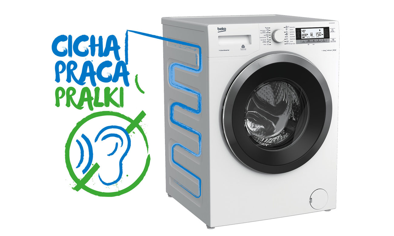 Ciche pranie, dzięki ścianie S w pralce Beko SWRE7512XWW2