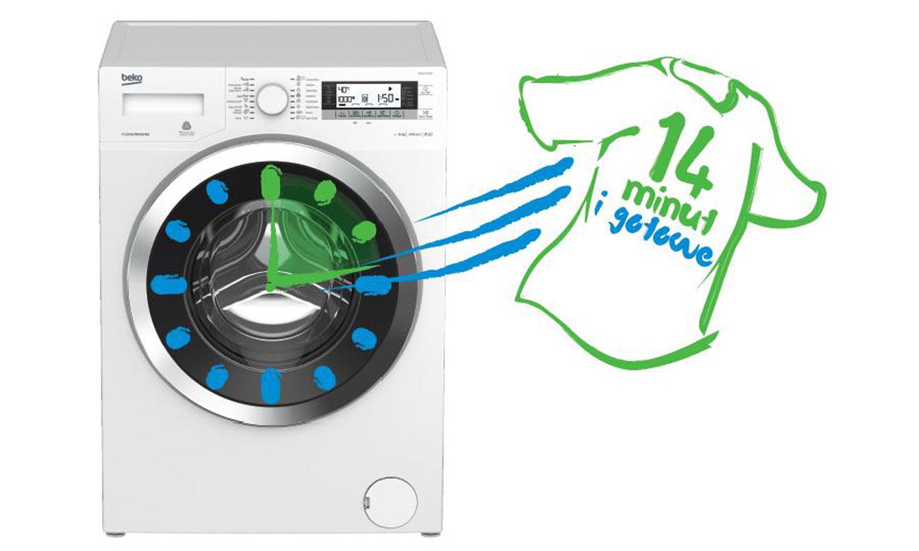 Szybkie pranie, dzięki programowi Mini 14 w pralce Beko WITC7612B0W