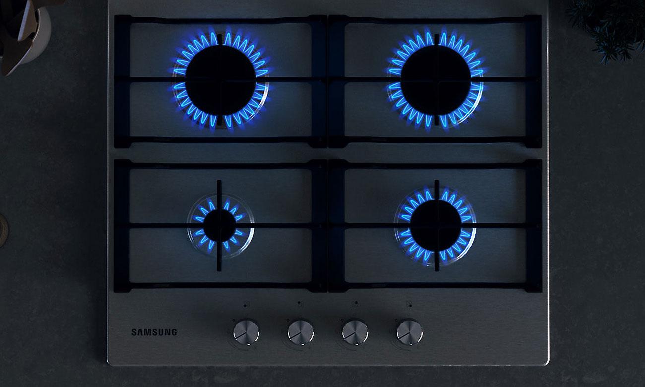 Zapalanie gazu za pomocą zapalarki gazu w pokrętle w płycie gazowej Samsung NA64H3010AS