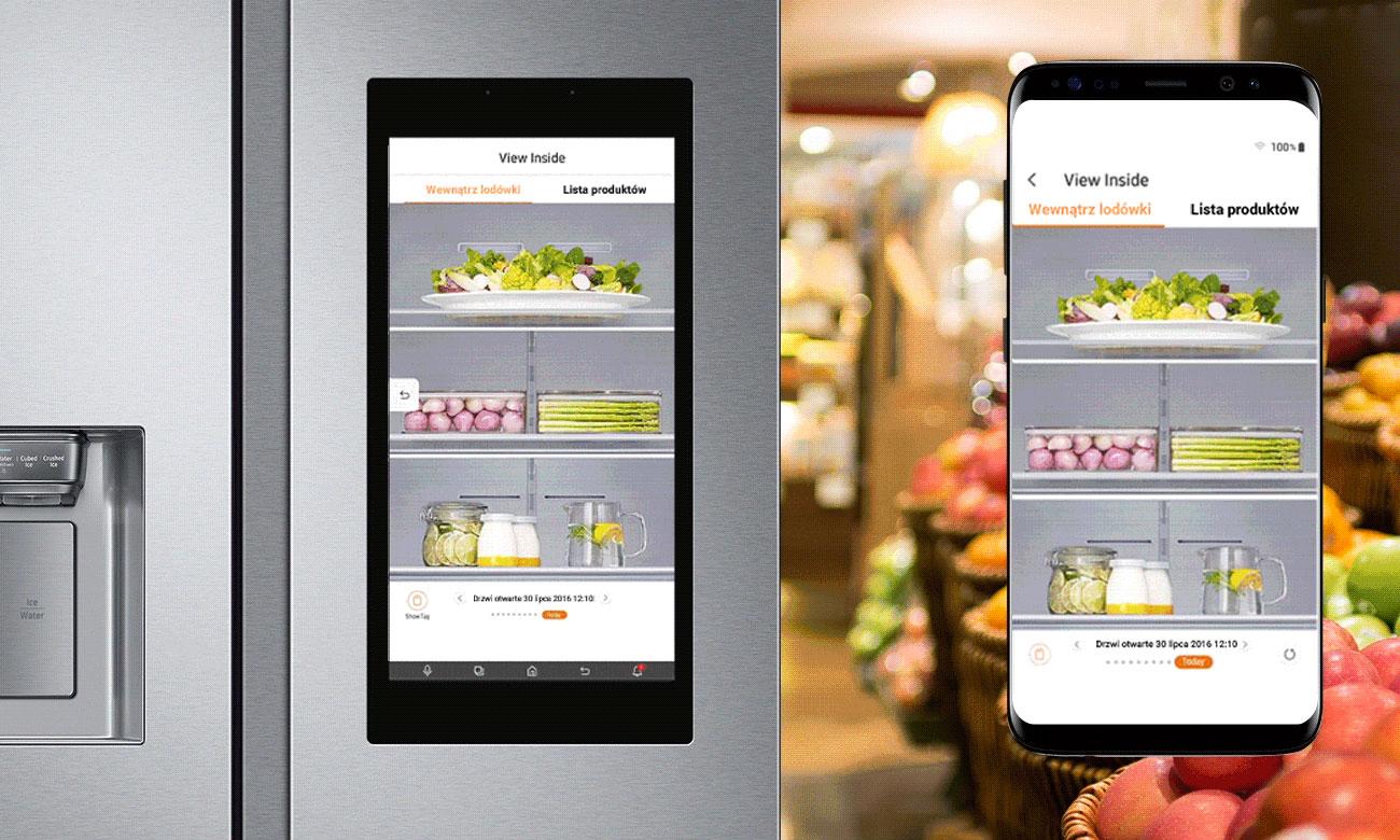 Zdalne sprawdzanie, dzięki funkcji View Inside w lodówce Samsung RS68N8941SL