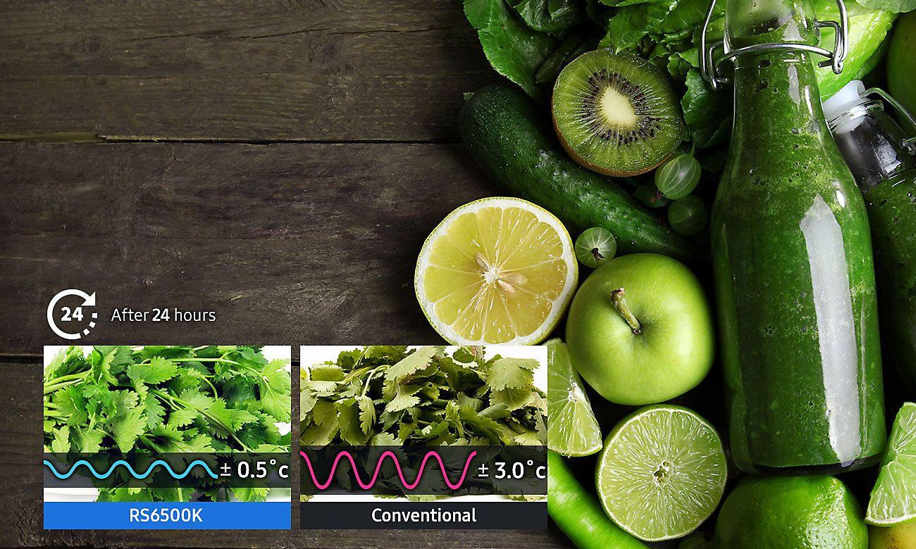 długa świeżość produktów spożywczych, dzięki technologii Precise Chef Cooling w lodówce Samsung RS68N8941SL