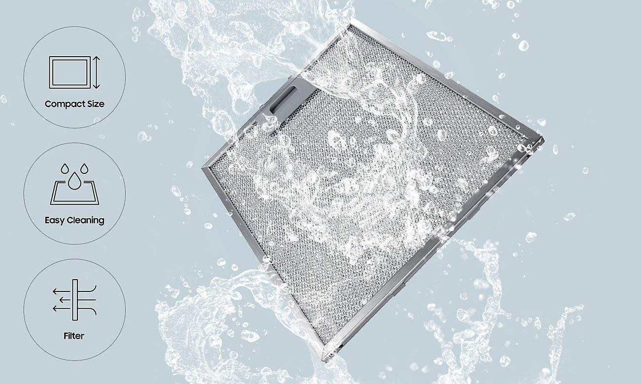 Skuteczny aluminiowy filtr przeciwtłuszczowy w okapie Samsung NK24M7070VS