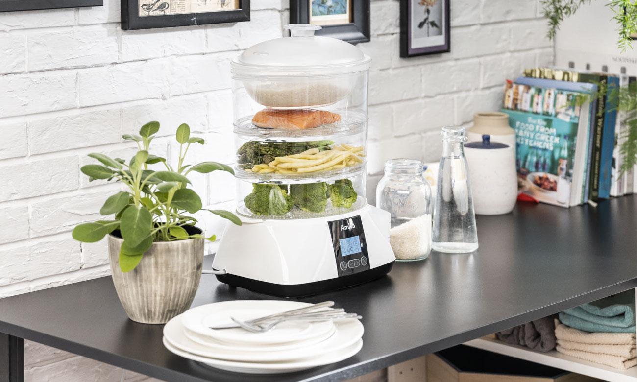 Automatyczne programy gotowania w parowarze Amica PT 3012