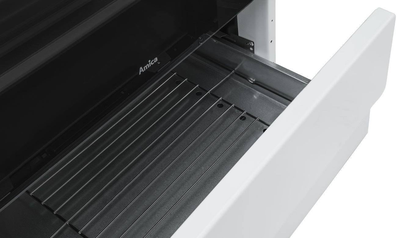szuflada na prowadnicach rolkowych kuchenki Amica Linia 600 618CE3.333HQ(W) biała ceramiczna 60cm