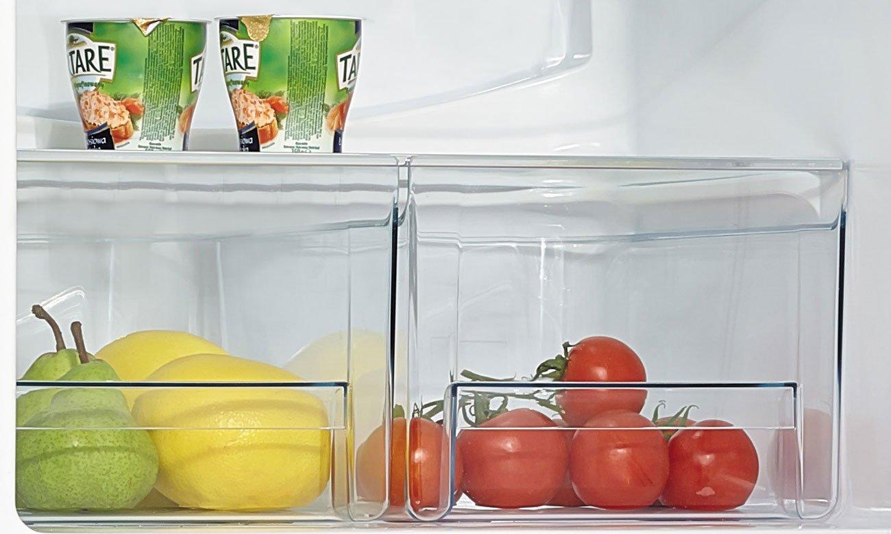 Praktyczna szuflada na warzywa i owoce w lodówce Amica BK2665.4