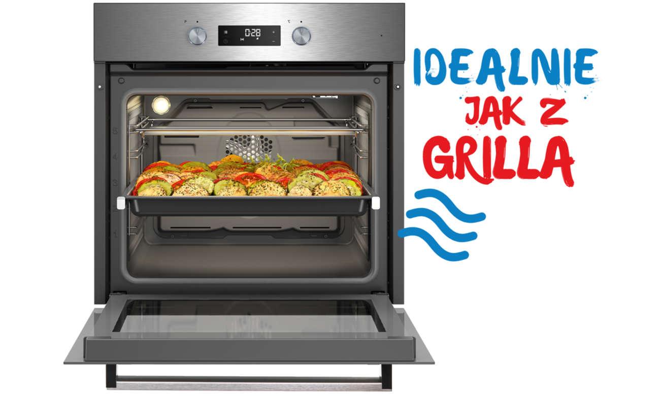 Kuchnia Beko FSE51330DXDS umożliwia grillowanie