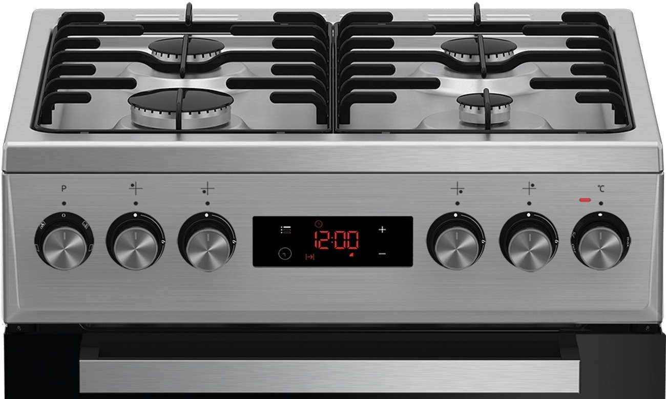 Intuicyjny wyświetlacz semi-sensorowy w kuchence Beko FSET52324DXDS