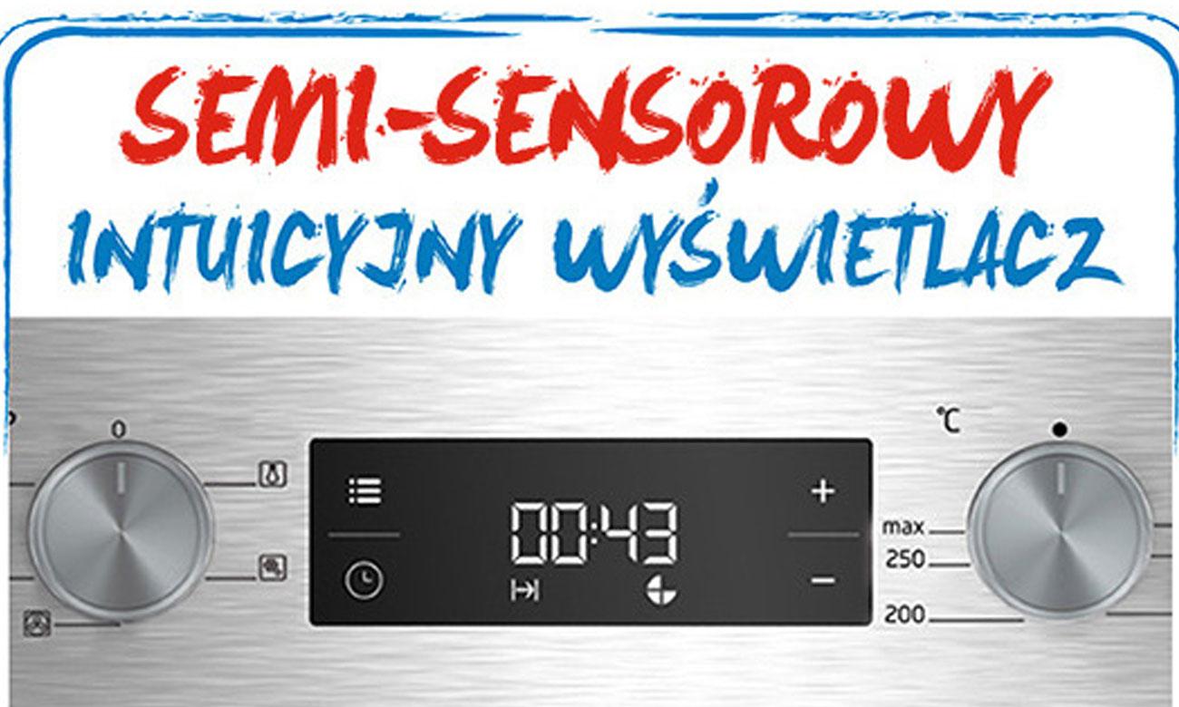 Wyświetlacz semi-sensorowy  kuchnia gazzowo-elektryczna Beko FSM52332DXDS