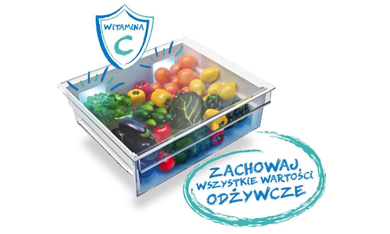 Świeże owoce i warzywa, dzięki Systemowi Active Fresh Blue Light w lodówce Beko GN1416231JX