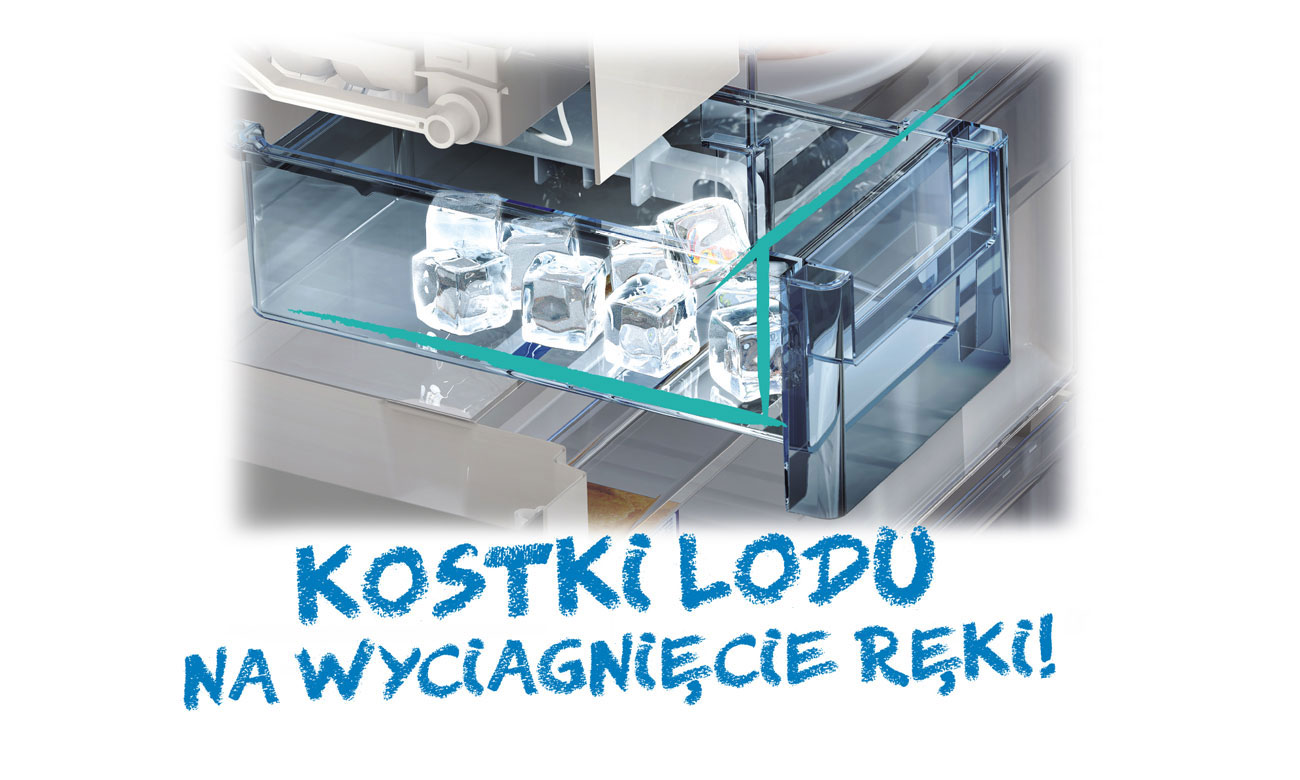 Dostęp do lodu, dzięki kostkarce twistowej w lodówce Beko GN163220X