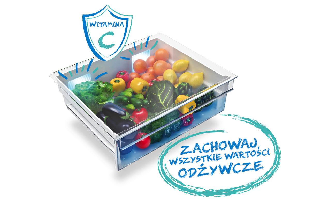 Świeże warzywa i owoce, dzięki systemowi Active Fresh Blue Light w lodówce Beko GN163220X