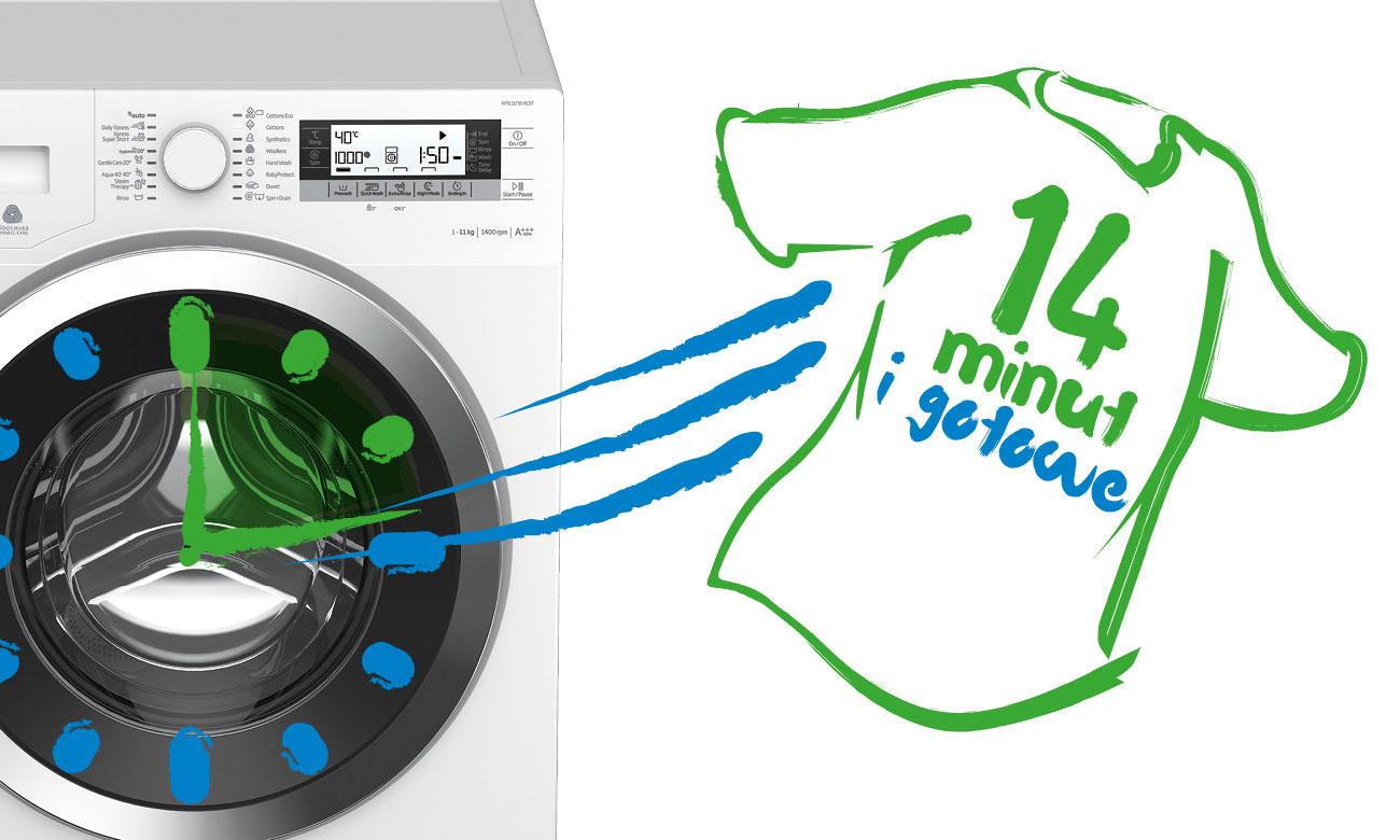 Program Xpress Super Short odświeży ubrania w zaledwie w 14 minuty w pralce Beko WRE6612BWW