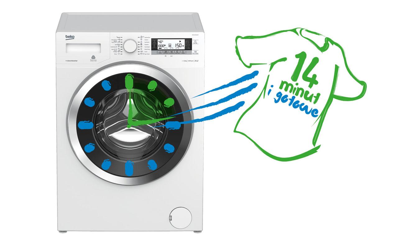 Szybkie pranie w pralce Beko WRE7612XWW