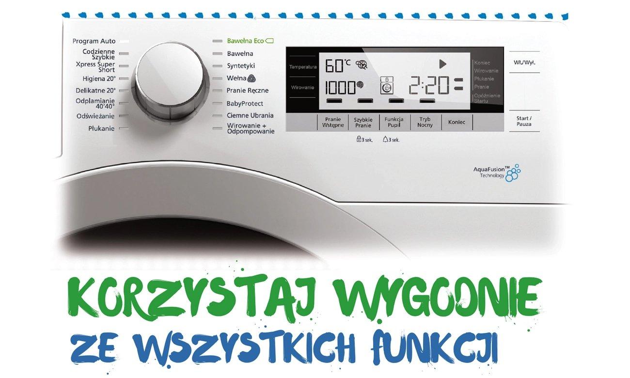 elektroniczny wyświetlacz w Beko WRE7632XS