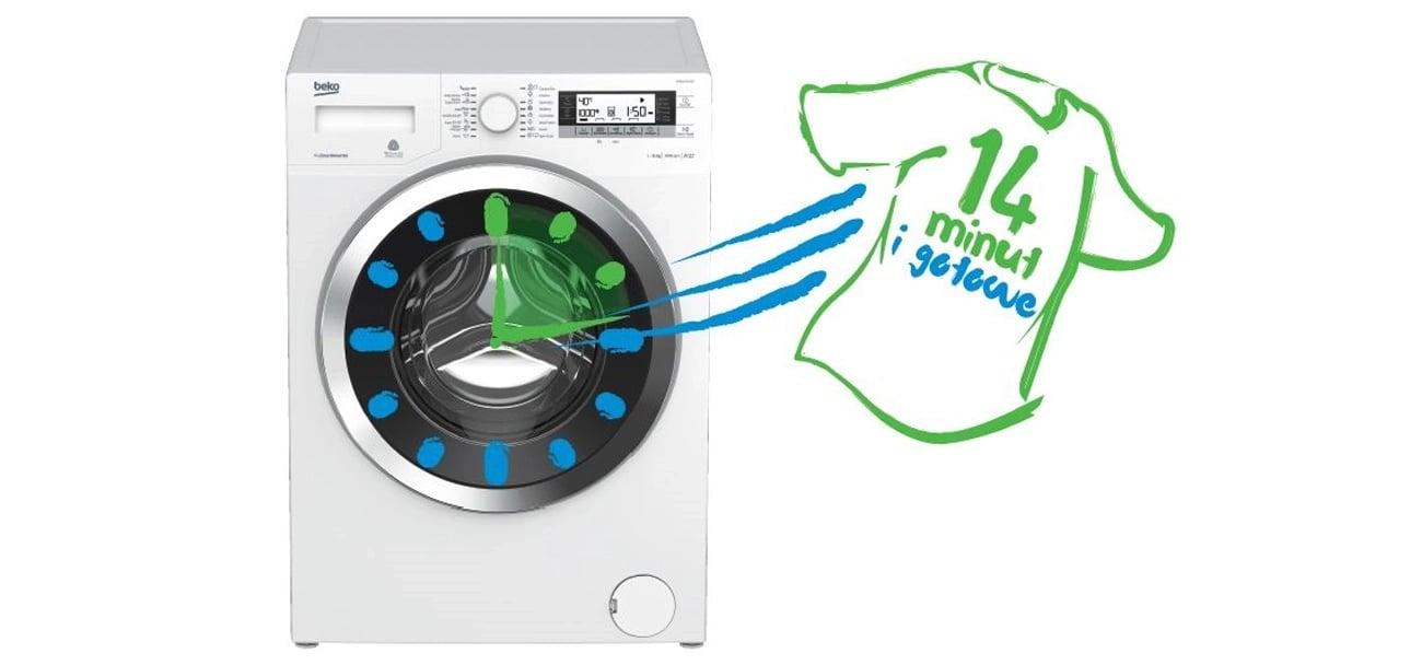 Pralka Beko WRE7632XS posiada program szybkiego prania w zaledwie 14 minut