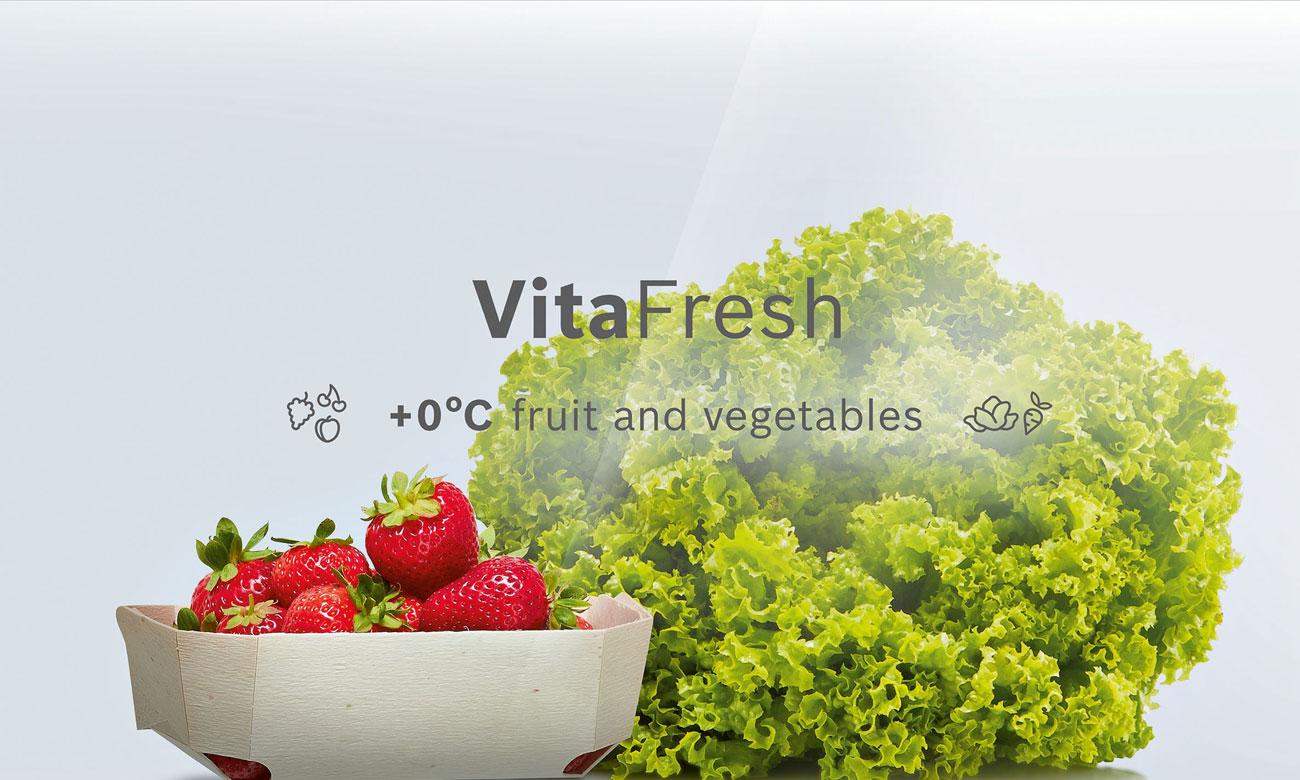 Świeża żywność, dzięki technologii VitaFresh w lodówce do zabudowy Bosch KIF41AF30