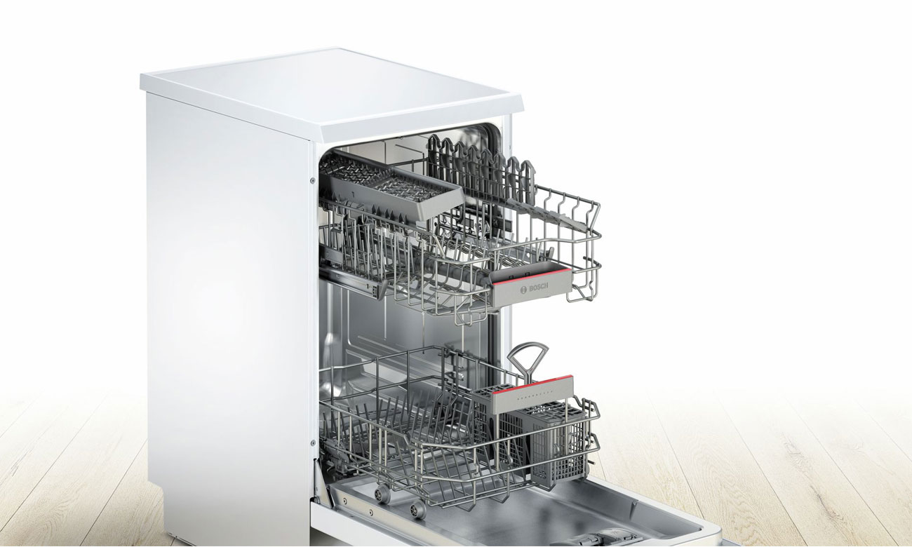 Regulacja wysokości górnego kosza w zmywarce Bosch SPS46IW01E