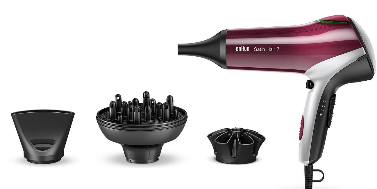 Akcesoria w zestawie w suszarce do włosów Braun Satin Hair HD770