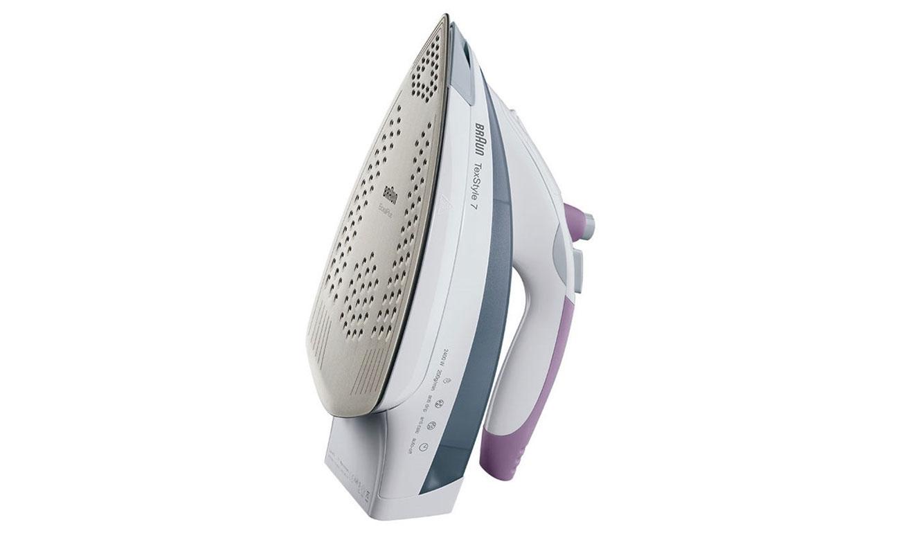 Żelazko Braun TS 755 EA posiada wytrzymałą szafirową stopę grzejną